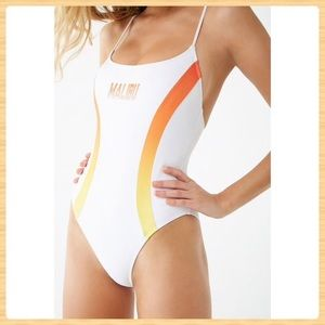 New Forever21 Malibu Graphic One-Piece Swimsuit